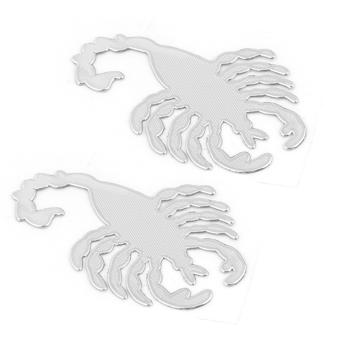 Car Exterior Silver Tone Metal Scorpion Shaped Sticker Badge Emblem Decor 2pcs