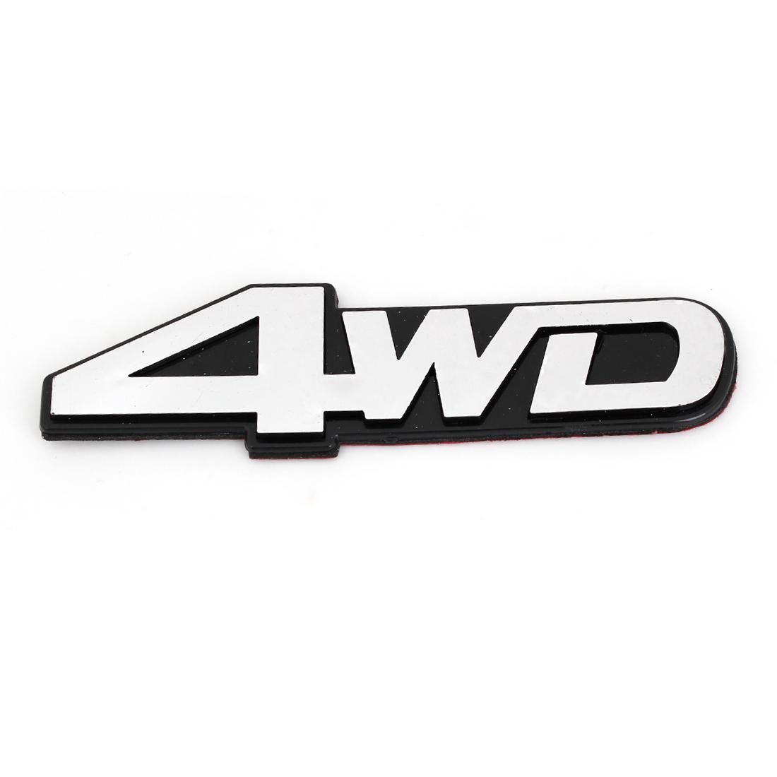 Silver Tone Plastic 4WD Shaped Adhesive Car Automobile Badge Sticker Decor