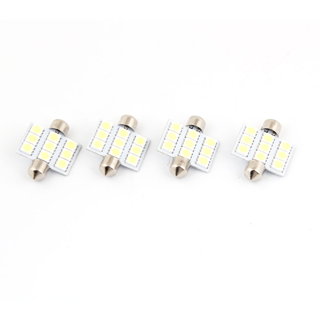 Car Auto White 9 LED 5050 SMD 36mm Festoon Dome Map Trunk Light Lamp Bulb 4 Pcs
