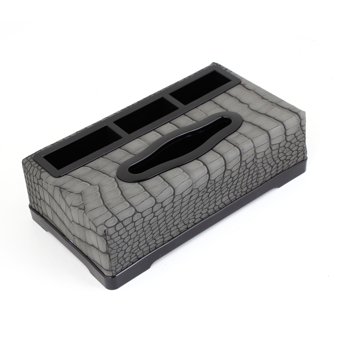 Car Black Plastic Shell Gray Crocodile Printed Paper Tissue Box Case Holder