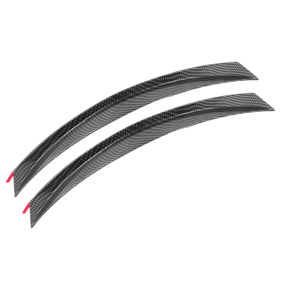 2PCS Car Black Gray Carbon Fiber Printed Plastic Wheel Trim Strip 36.5cm Long
