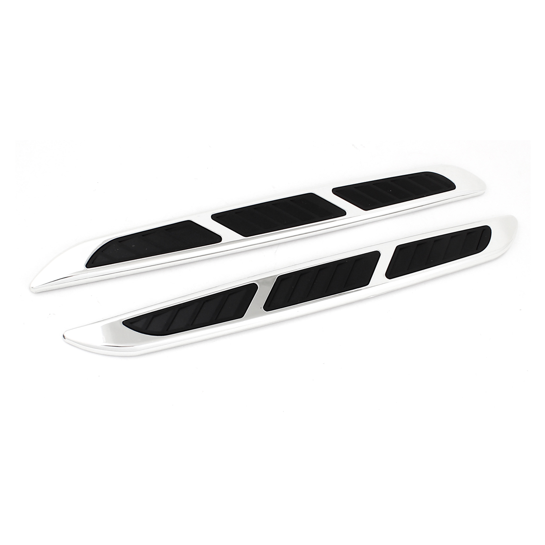 2 Pieces Black Silver Tone Plastic Decorative Bumper Guard Protector for Car