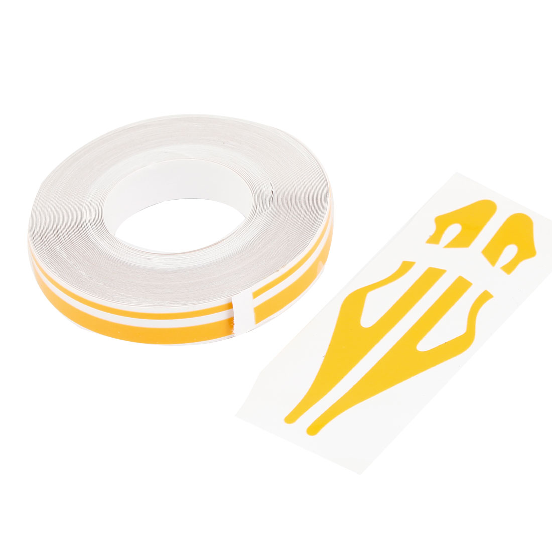 Automobile Car Decorative Yellow White Self Adhesive Stripe Tape 12mm x 9800mm
