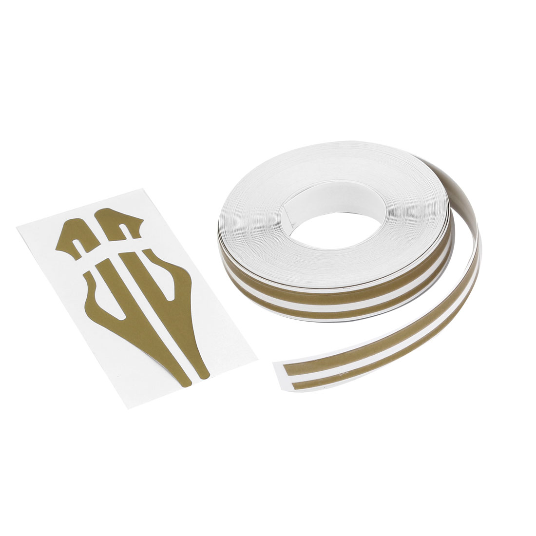Gold Tone White Stripe Car Vehicle Self Adhesive Striping Tape Line 12mm x 9800mm