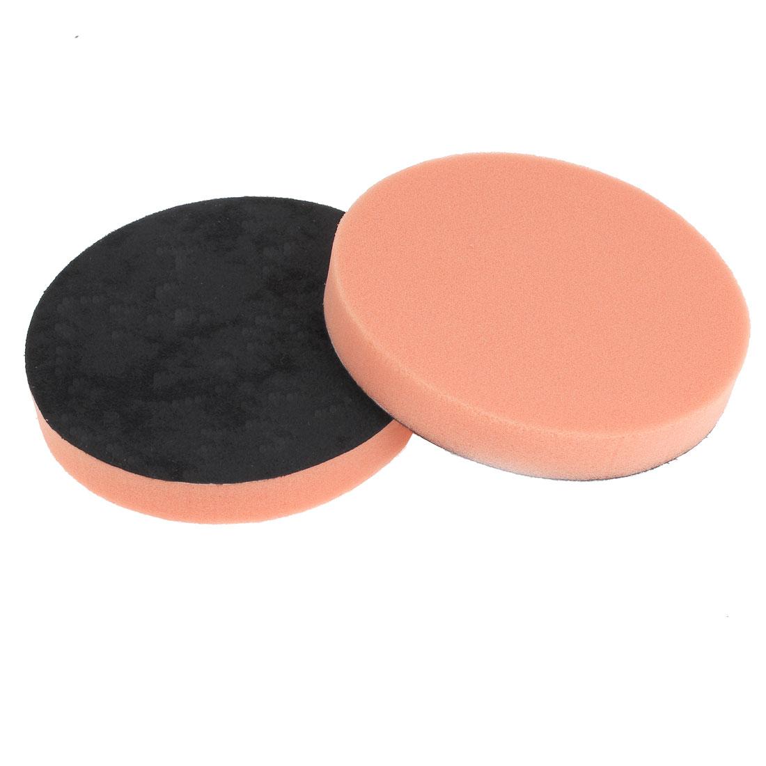 """Vehicle Car 6"""" Dia Round Shaped Polisher Cleaning Pad Sponge Tool Orange 2 Pcs"""