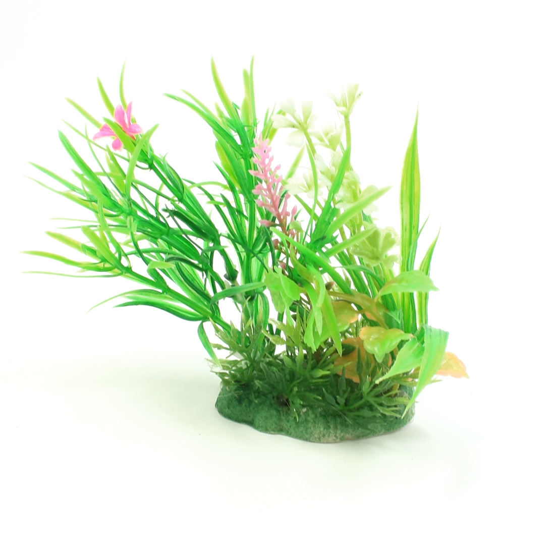 """5.1"""" Height Green Plastic Flowers Decor Aquatic Water Plant for Fish Tank"""