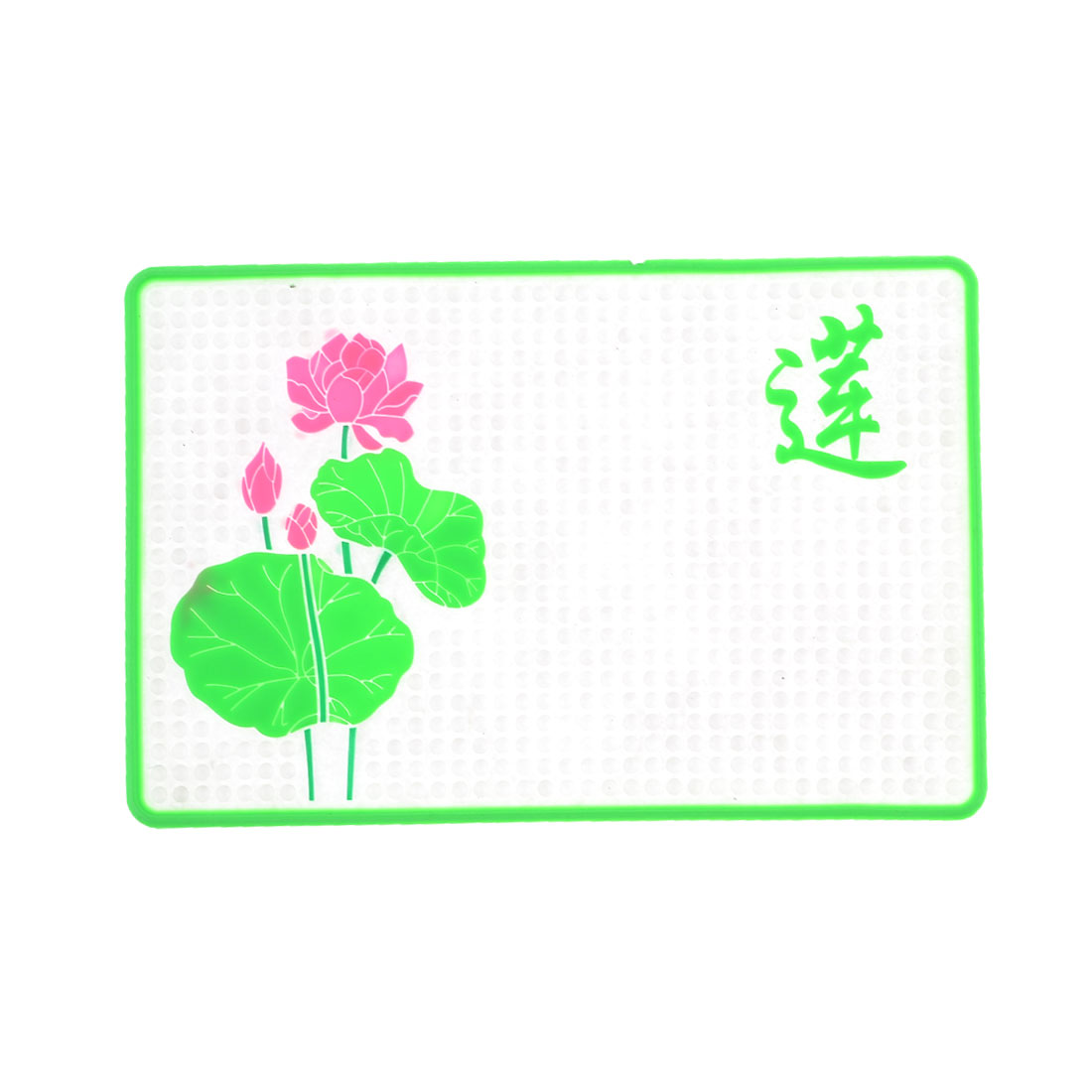 Car Green Lotus Flower Rectangle Clear Nonslip Dotted Silicone Pad Mat Cushion