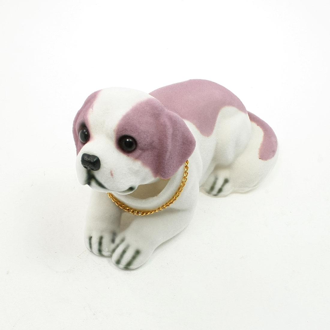 Metal Saint Bernard Nodding Dog Ornament for Cars Auto Vehicle