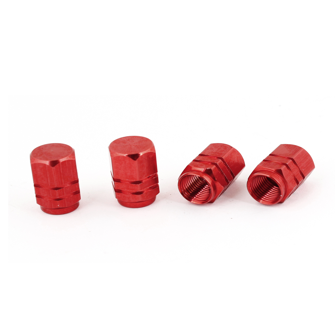 4pcs Hexagon Tyre Tire Valve Stems Caps Cover Red for Vehicle Car