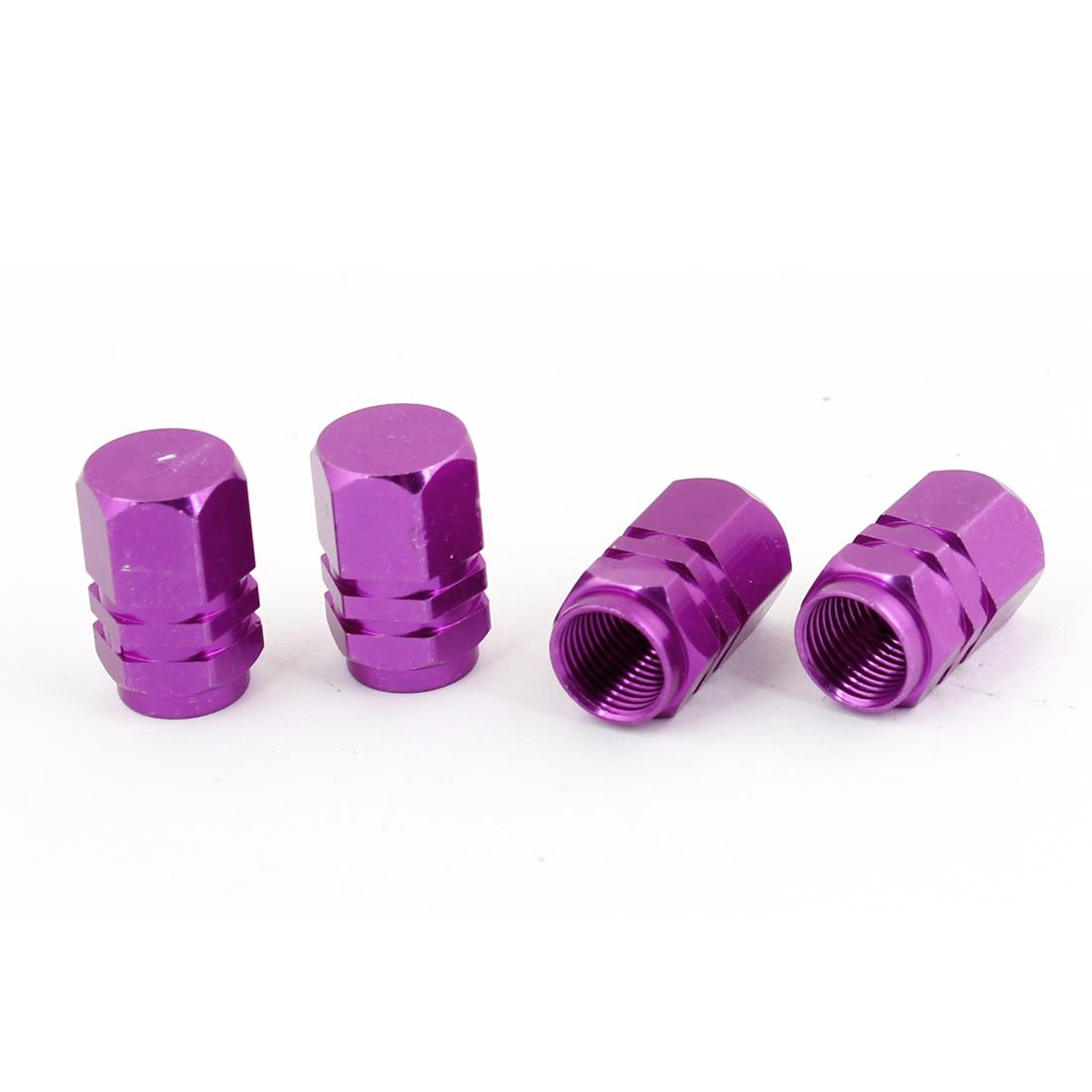 4pcs Hexagon Tyre Tire Valve Stems Caps Cover Purple for Vehicle Car