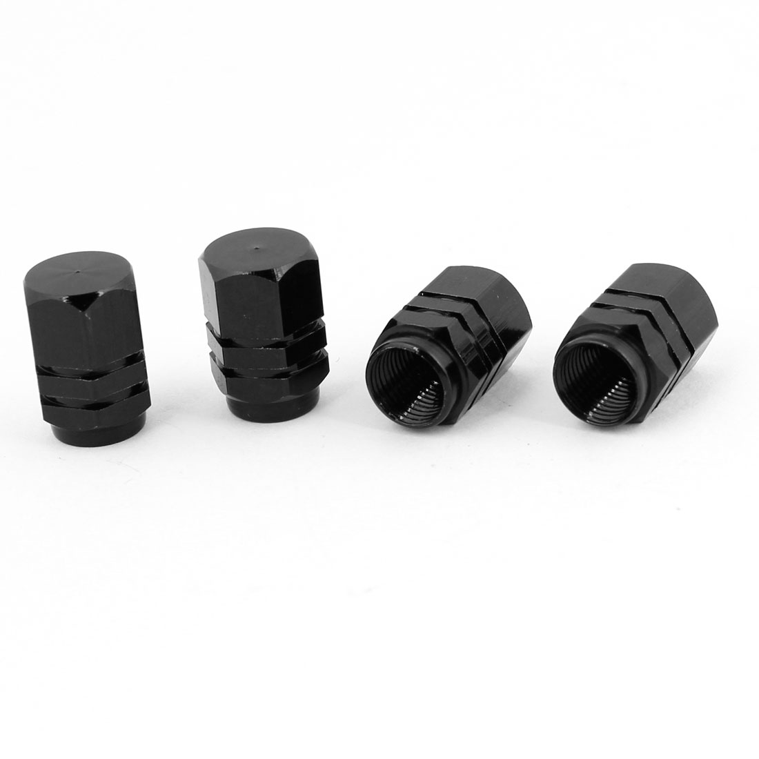 4pcs Hexagon Tyre Tire Valve Stems Caps Cover Black for Vehicle Car