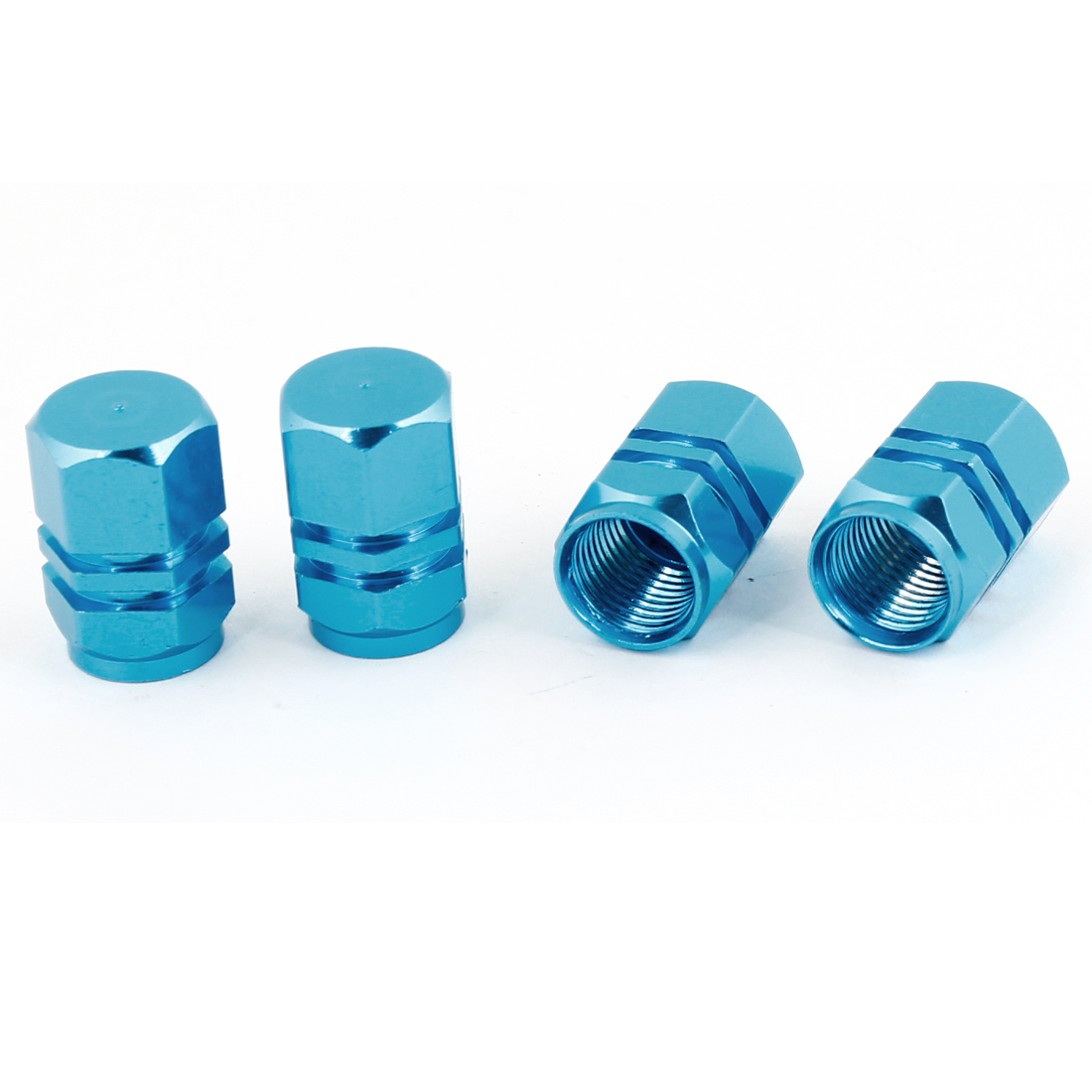 4pcs Hexagon Tyre Tire Valve Stems Caps Cover Blue for Vehicle Car