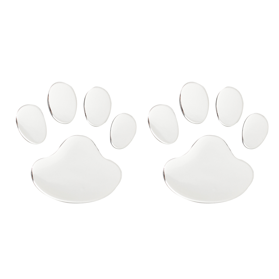 2pcs Silver Tone Dog Footprint Badge Emblems Sticker for Auto Car