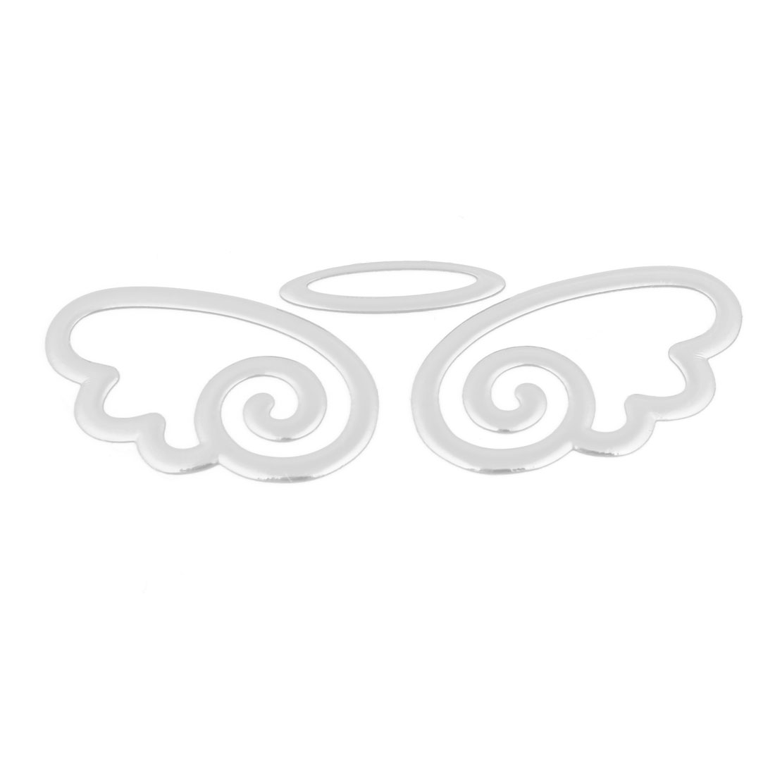 Auto Car 3D Angel Designed Self Adhesive Sticker Silver Tone