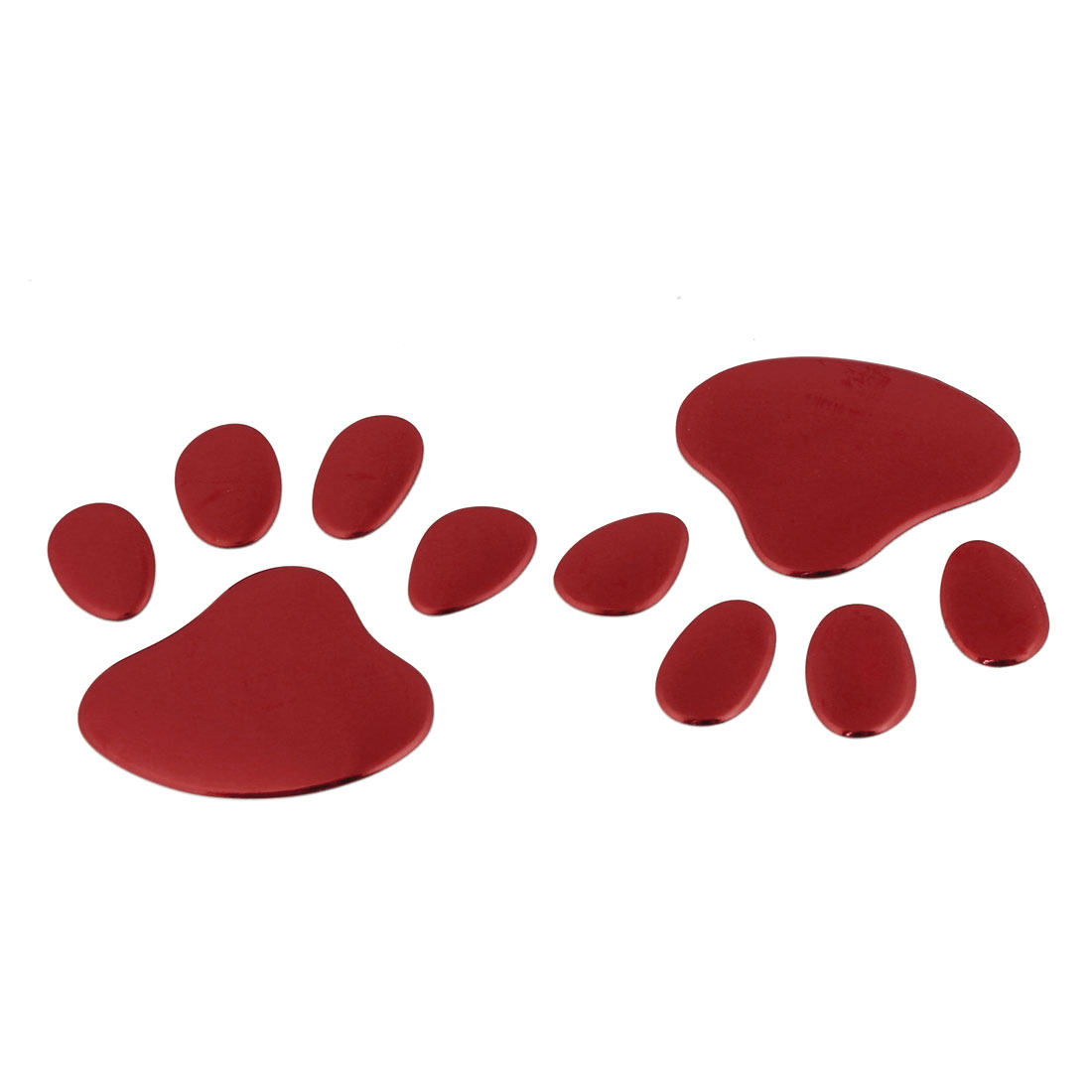 2pcs Red Dog Footprint Badge Emblems Sticker for Auto Car