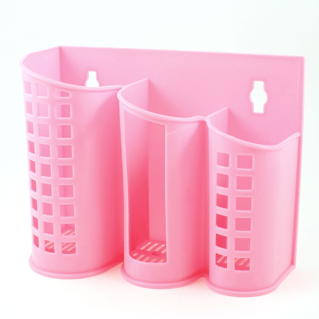 Plaid Perforating 3 Compartments Chopsticks Spoon Cage Holder Case Pink