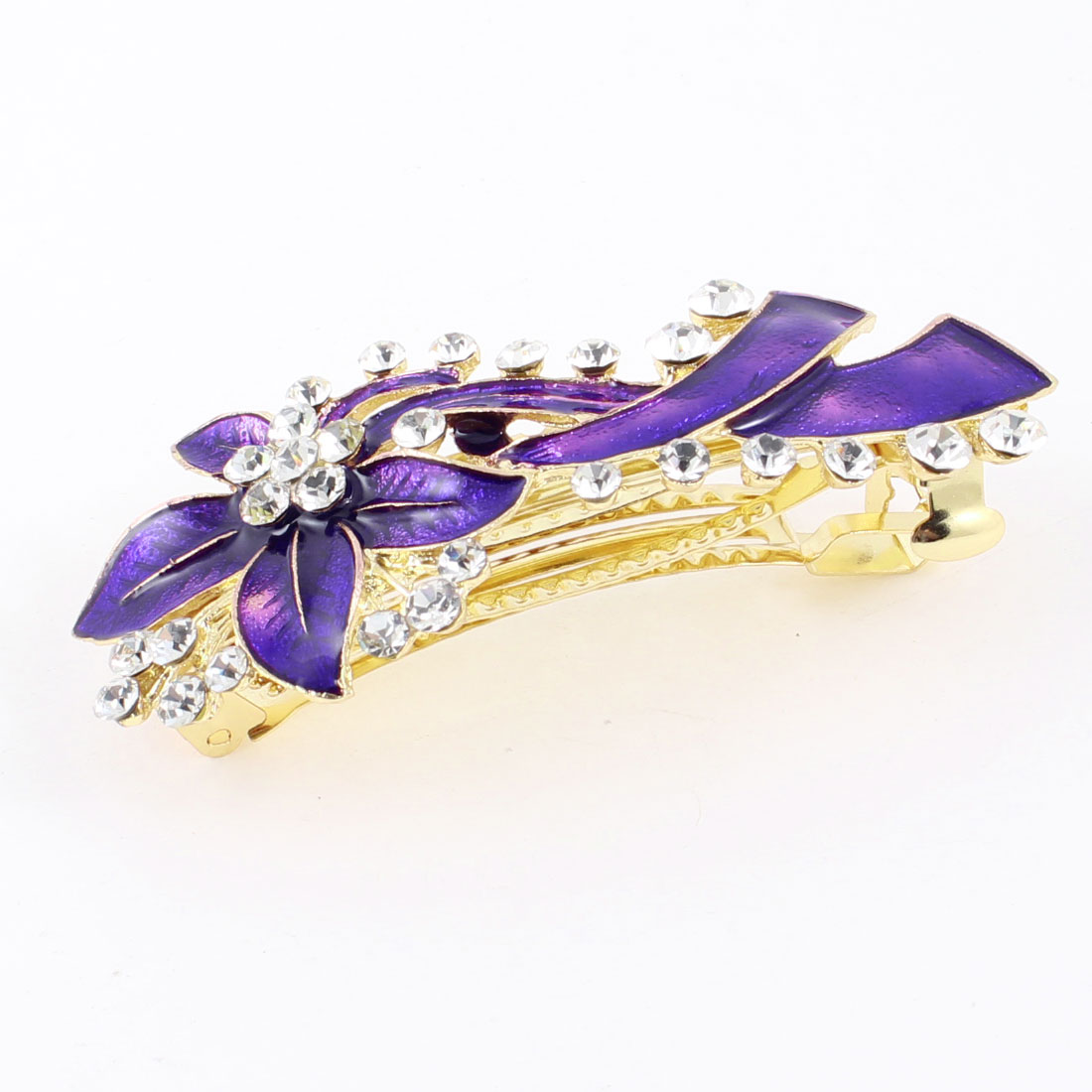 Gold Tone Metal Rhinestone Decor Purple Hairclip Barrette