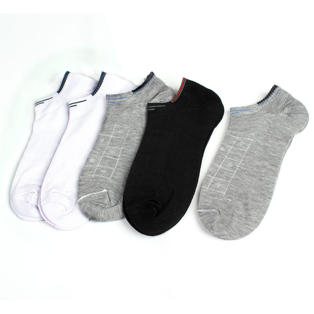 Man Letters Pattern Low Cuff Socks Gray White Black 5 Pairs