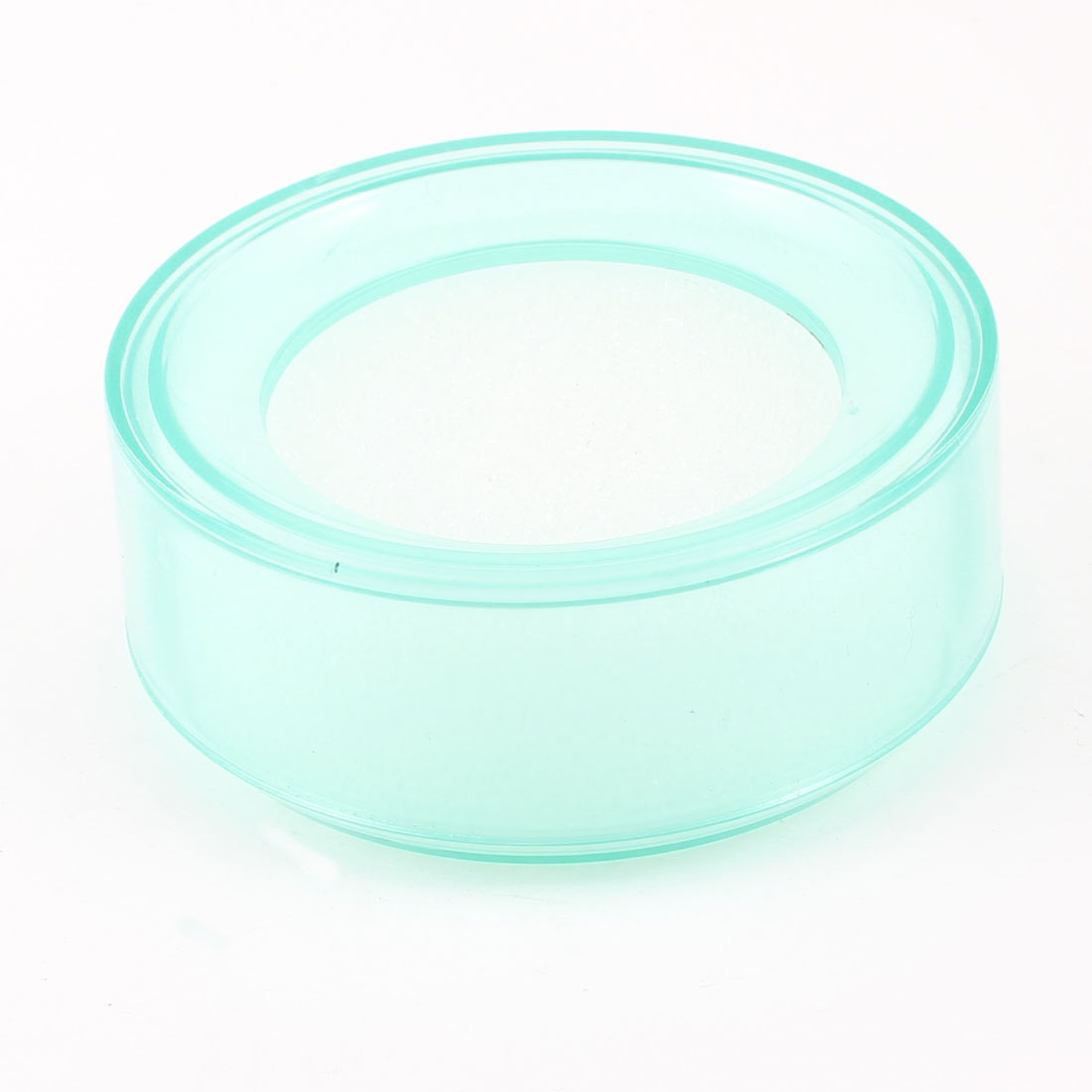 Clear Turquoise Plastic Round Case Finger Wet Sponge for Casher