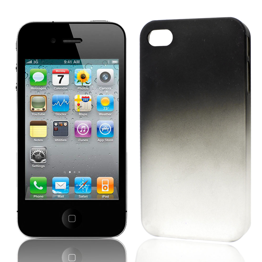 Gradual Change Black Clear Plastic Back Case Cover for Apple iPhone 4 4G 4S