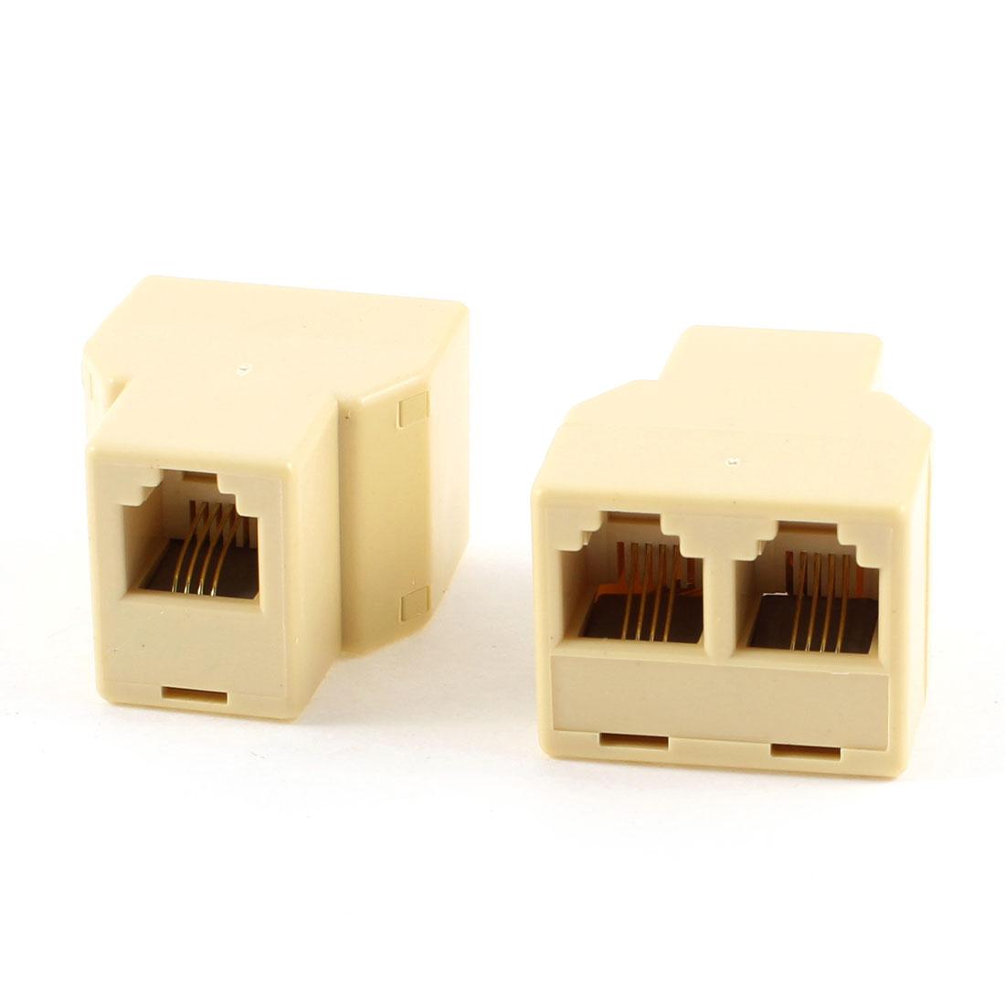 RJ11 6P4C 1 to 2 Female Telephone Modular Splitter Connector Joiner 2 Pcs