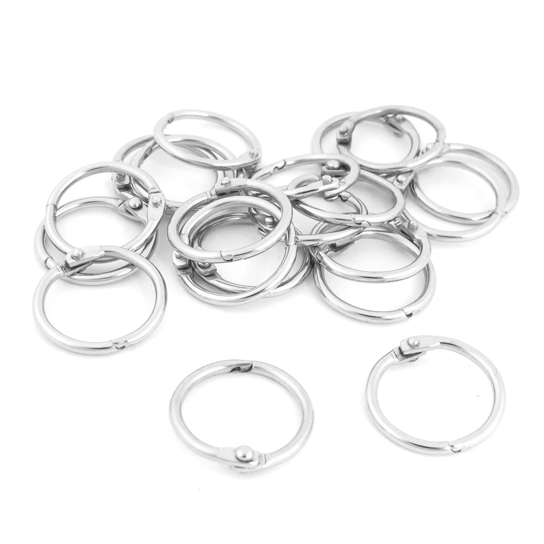 "20 Pcs 0.94"" OD Stationery Staple Book Binder Loose Leaf Snap Rings Keyring"
