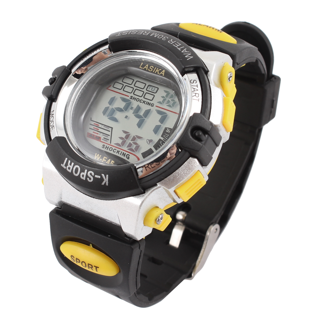 Black Yellow Silver Tone Soft Plastic Band Sports Wrist Watch Wristwatch for Man