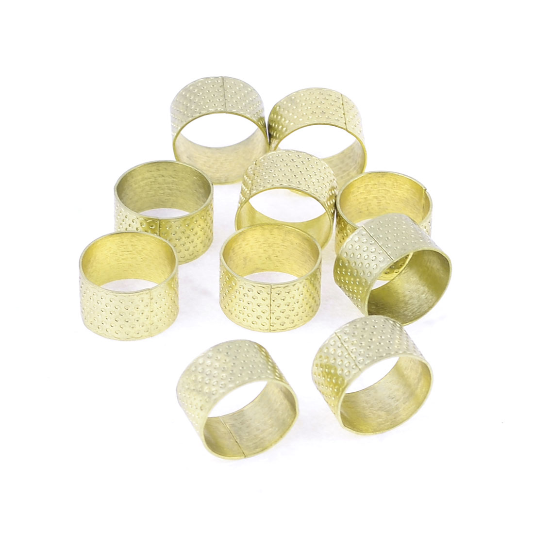 Tailoring Sewing Reeded Needle Hole Thimble Ring Gold Tone 10 Pieces