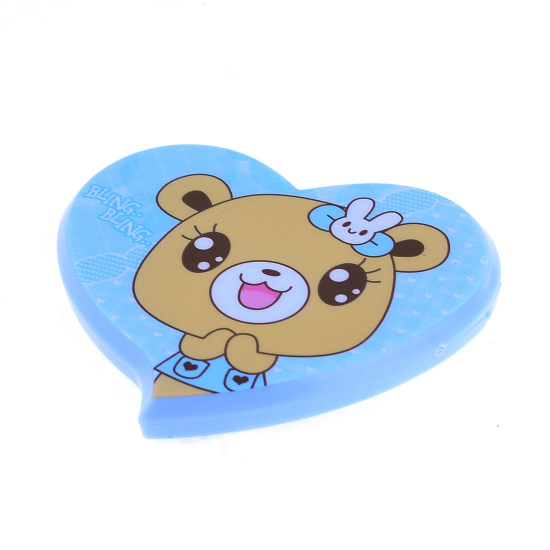 Woman Folding Cartoon Printed Heart Shape Cosmetic Pocket Mirror w Comb