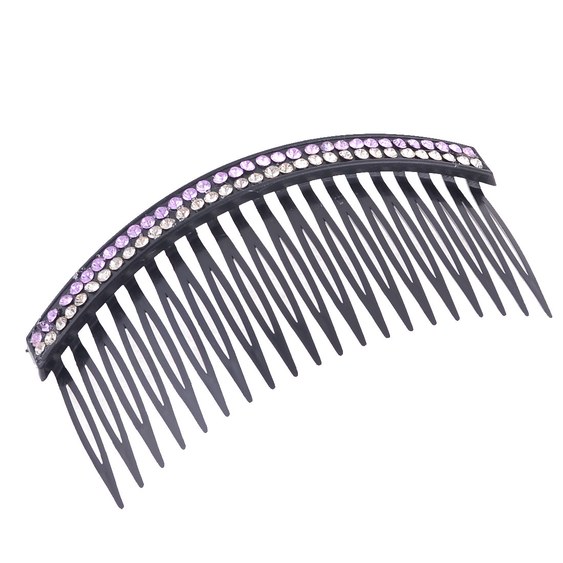 Double Row Purple Bling Rhinestones Accent Comb Hair Clip Clamp Black for Women