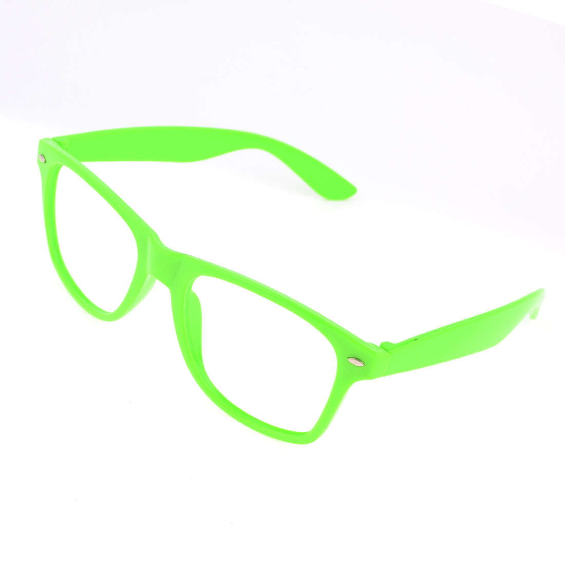 Lady Woman Lime Green Plastic Full Rim Single Bridge Glasses Frame Ornament