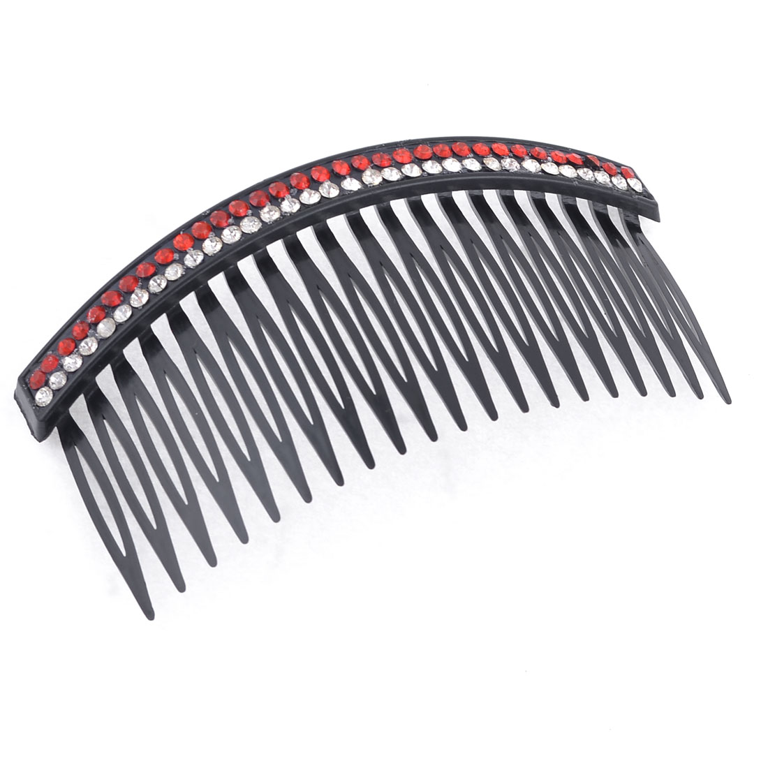 Double Row Red Bling Rhinestones Accent Comb Hair Clip Clamp Black for Women