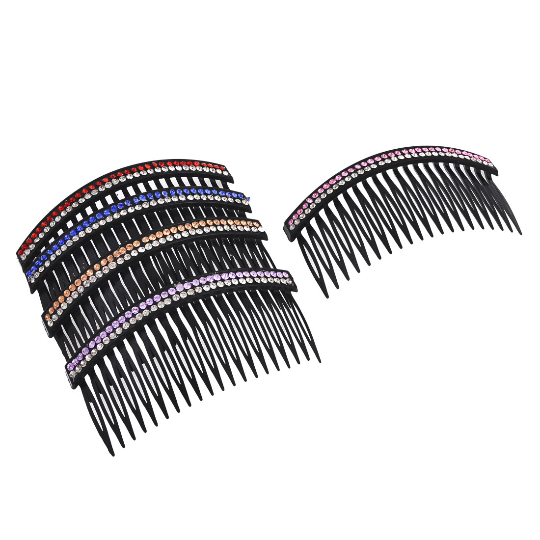 5 Pcs Double Row Bling Rhinestones Accent Comb Hair Clip Clamp Black for Women