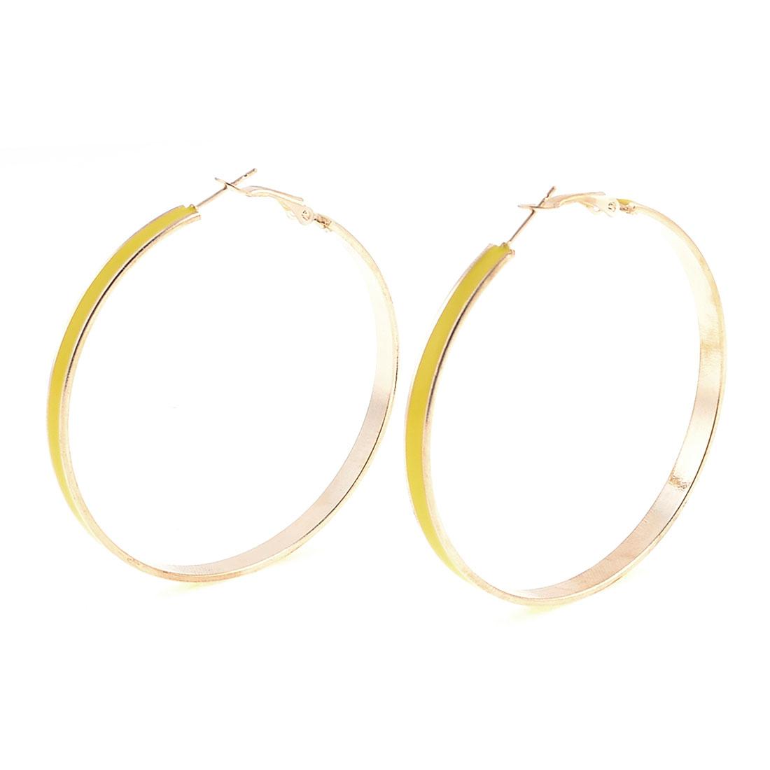 Yellow Gold Tone Metal Round Hoop Dangler Earrings Pair for Women