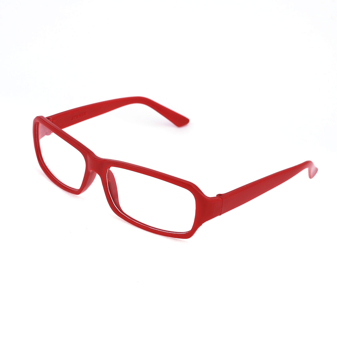 Red Plastic Frame Clear Lens Full Rim Plano Glasses for Lady