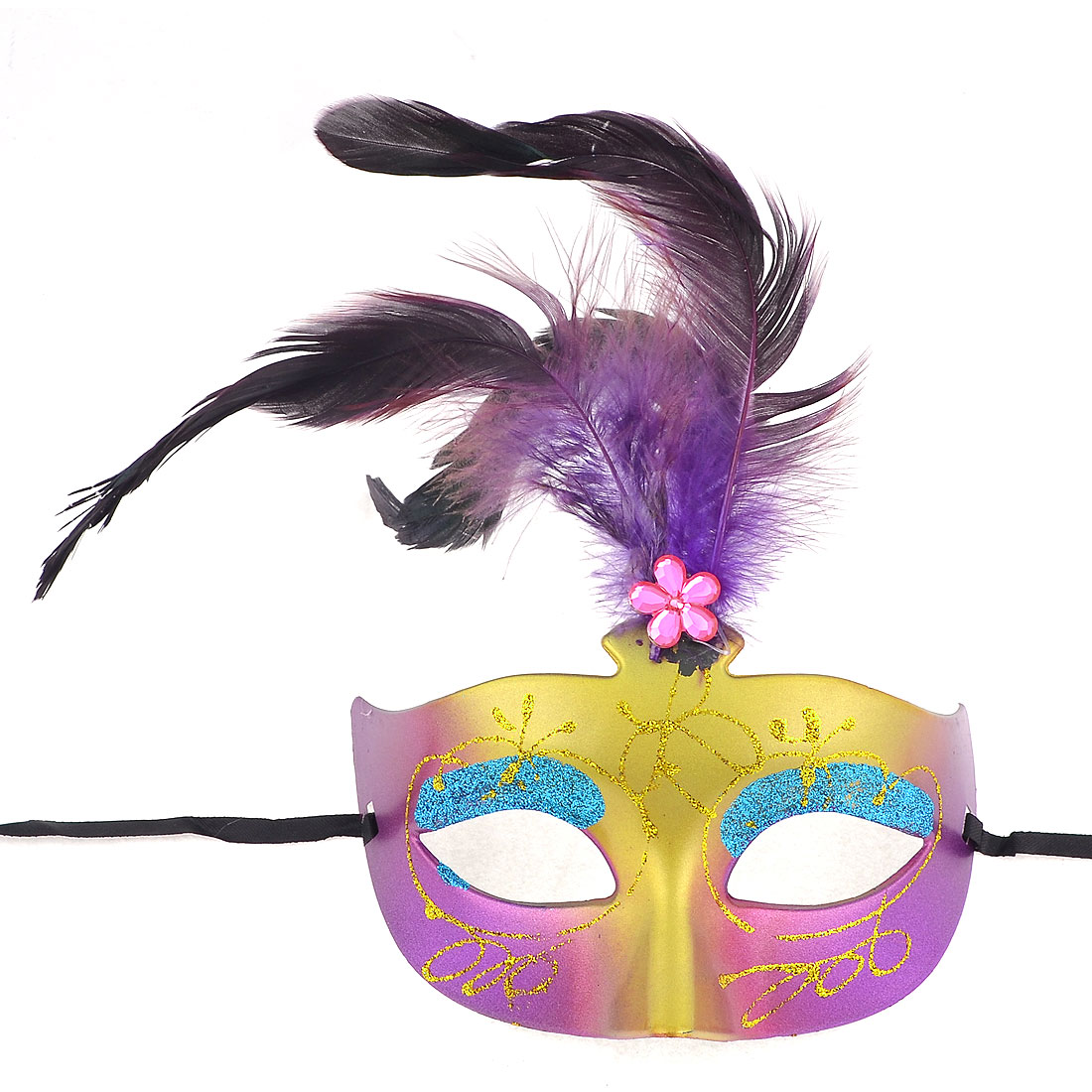 Faux Feather Accent Glitter Yellow Blue Powder Carnival Mask Gold Tone for Women