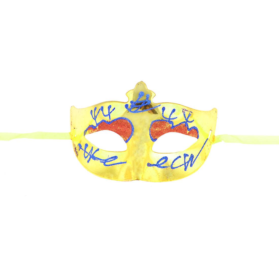 Masquerade Fancy Party Blue Powder Detail Eye Mask Yellow