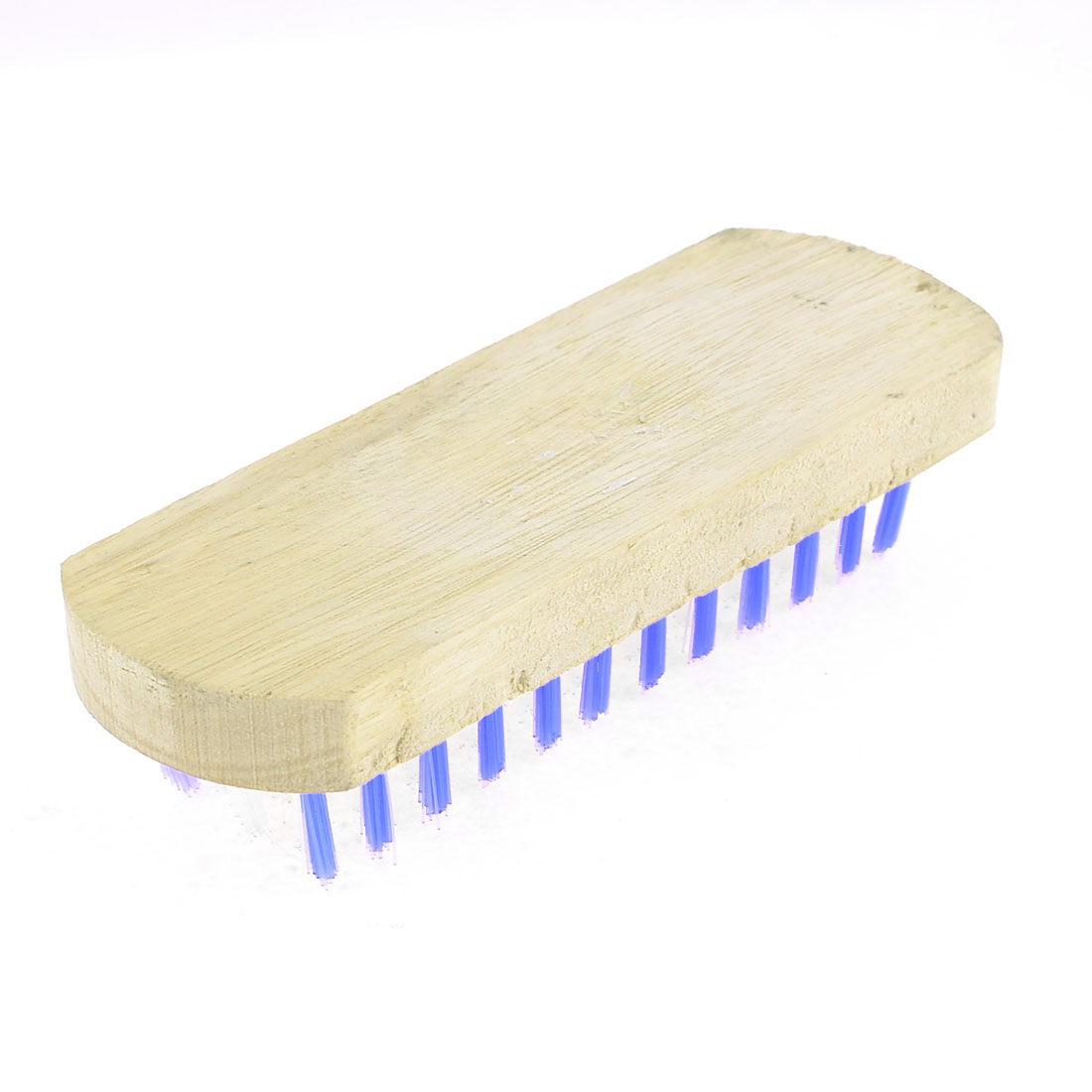 Household Wooden Base Blue White Scrubbing Brush for Clothes Shoes