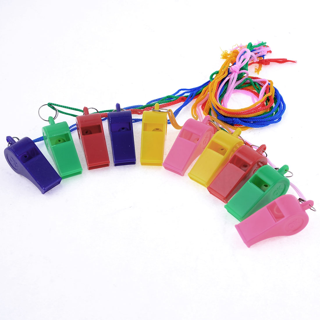 Outdoor Sports Game Nylon Neck Strap Colorful Plastic Referee Whistles 10 Pieces