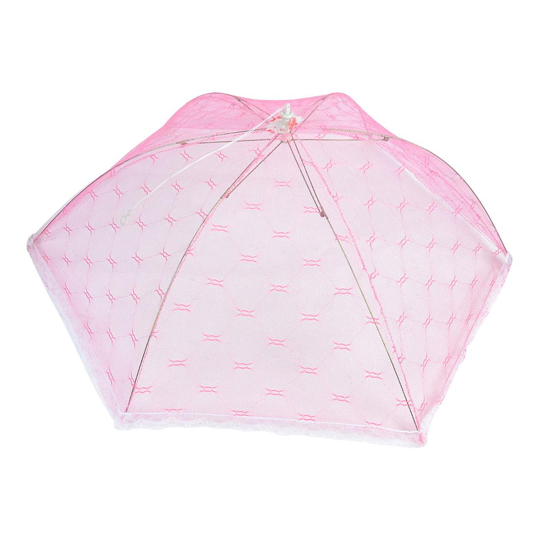 Restaurant Home Kitchen Nylon Mesh Net Dessert Dish Food Cover Umbrella Pink