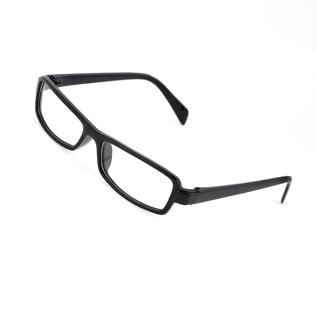 Ladies Black Full Frame Plastic Arms Clear Lens Spectacles