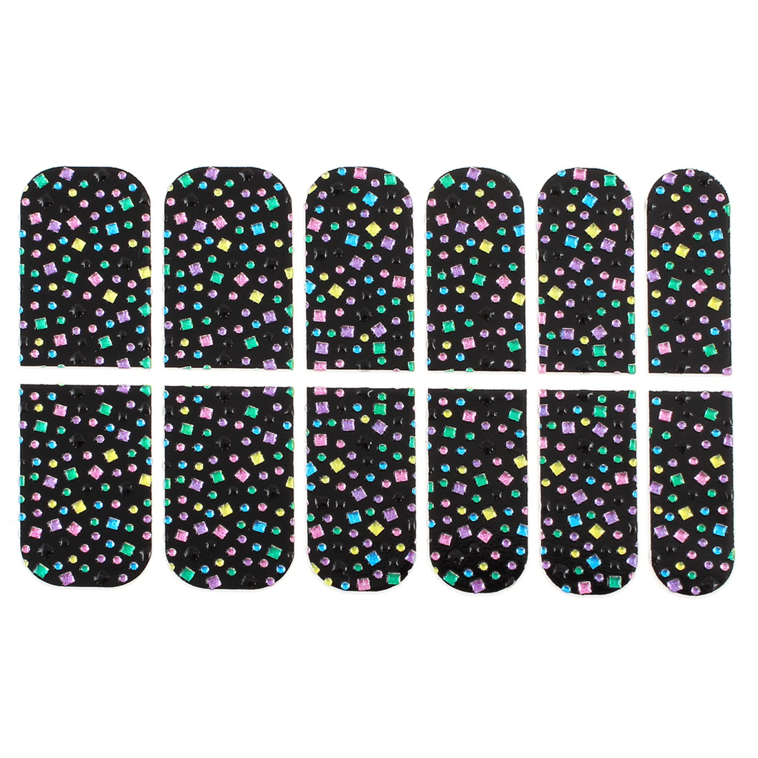 Woemen 12 Pcs Colourful Faux Crystal Decor Nail Wraps Foils Art Stickers Black