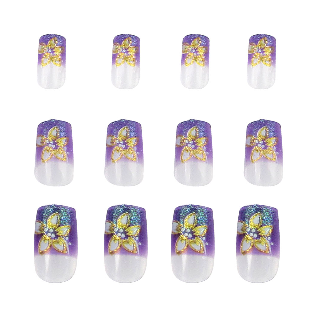 Gold Tone Flower Design Purple Nail Art Fingernail Airbrush Nails 12 Pcs