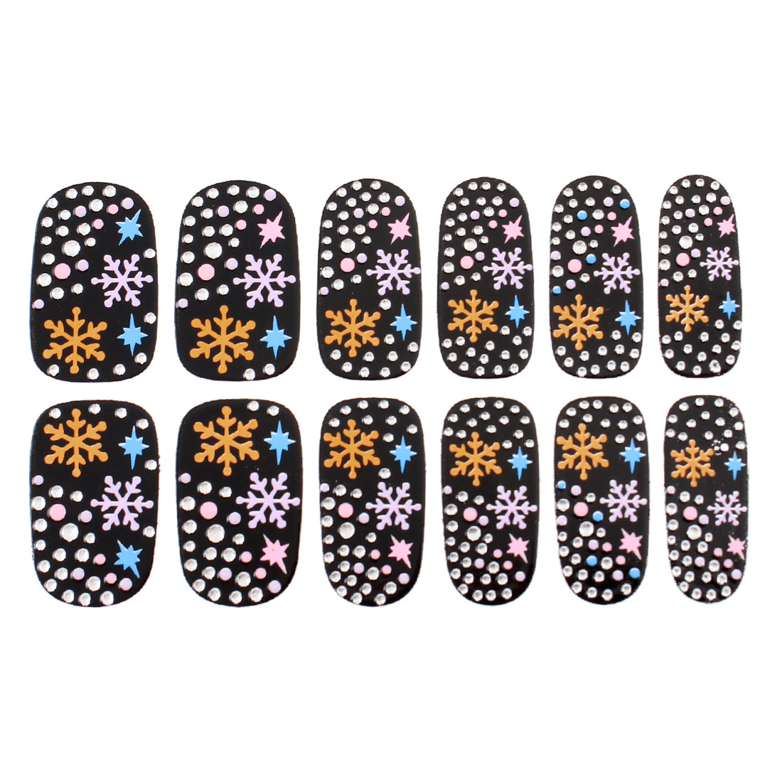 Pueple Yellow Snow Flake Pattern Nail Wrap Foils Self Adhesive Art Sticker 12 Pcs Black