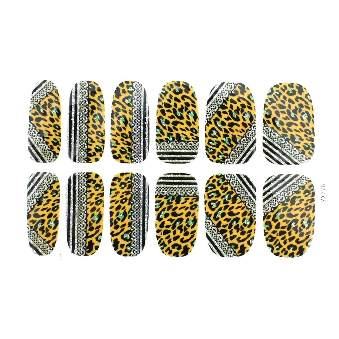 Glittering Leopard Print Nail Art Stickers Tip Decortion 12 Pcs