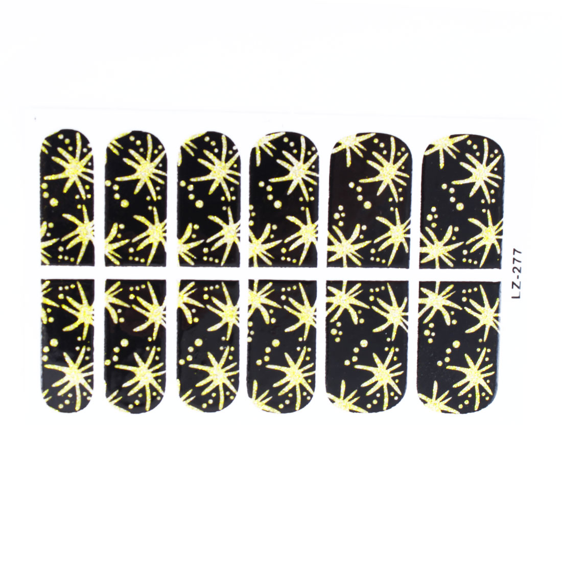 12 Pcs Bling Powder Decor Fireworks Pattern Nail Wraps Foils Art Stickers Black