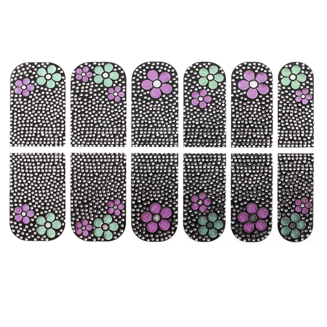 Silver Tone Dots Magenta Green Flower Prints Nail Foils 12 Pcs Black