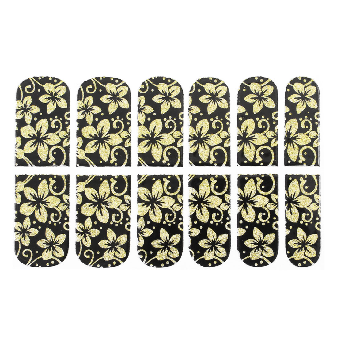Black Bling Powder Detail Gold Tone Flower Printed Nail Foils 12 Pcs