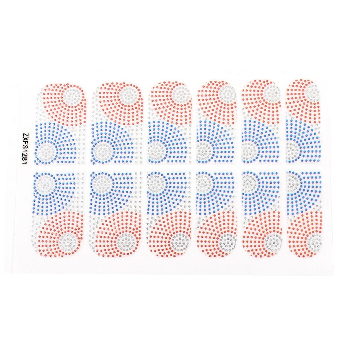 Blue Red Polka Dot Pattern Nail Foils Decorative Decals 12 Pcs