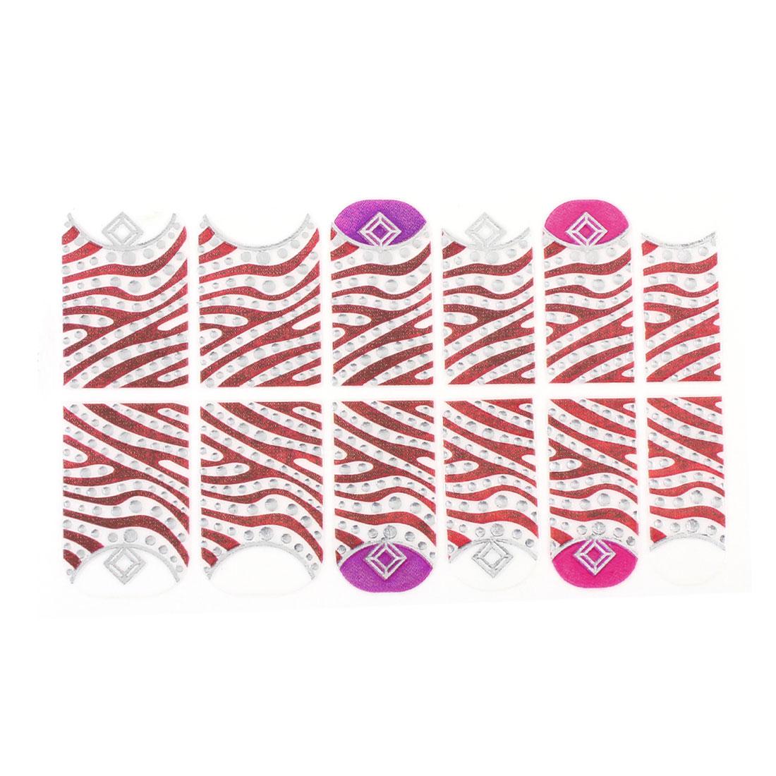 Brown Zebra Pattern Plastic Crytal Decor Nail Foils Decorative Decals 12 Pcs